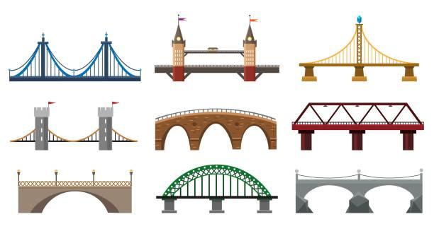 iron bridge set - bridge stock illustrations