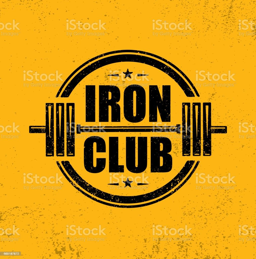 Iron Club Fitness Sport Club. Gym Workout Barbell Stamp Vector Design Element.