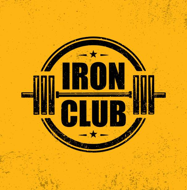 Iron Club Fitness Sport Club. Gym Workout Barbell Stamp Vector Design Element. vector art illustration
