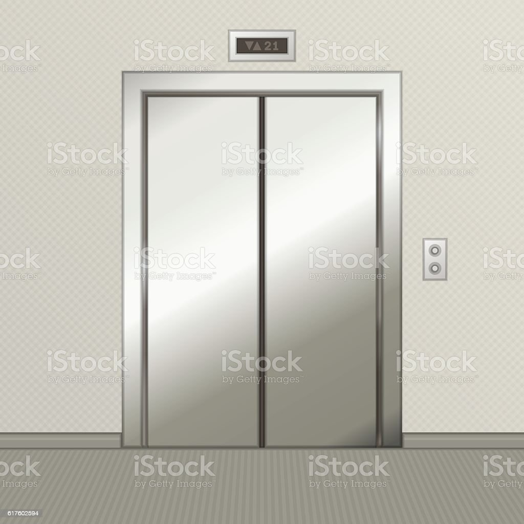Iron elevator with closed doors. vector art illustration