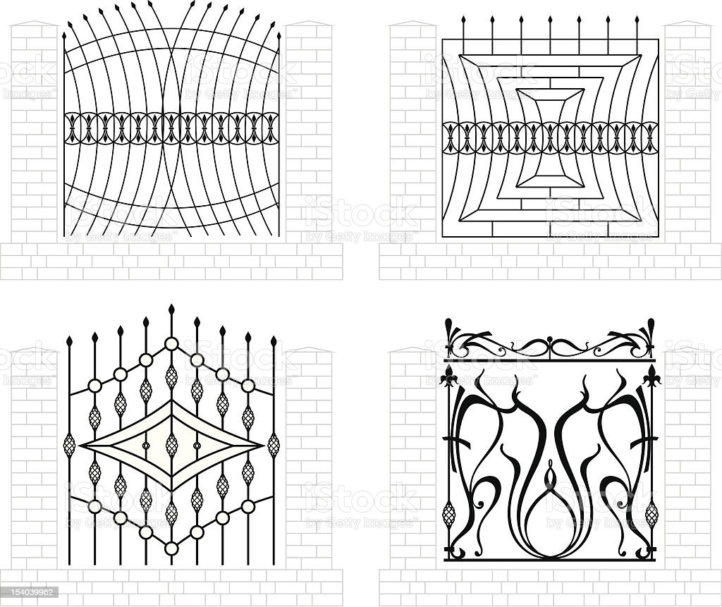 Iron fence vector art illustration
