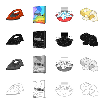 Iron For Ironing Washing Powder Foam In A Bowl Toilet Soap Washing And Cleaning Set Collection Icons In Cartoon Black Monochrome Outline Style Vector Symbol Stock Isometric Illustration Web Stock Illustration - Download Image Now