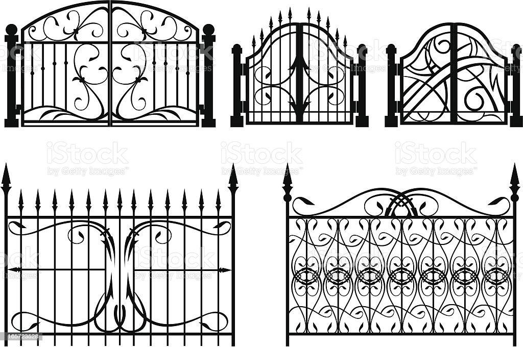 Iron Gate & fence vector art illustration