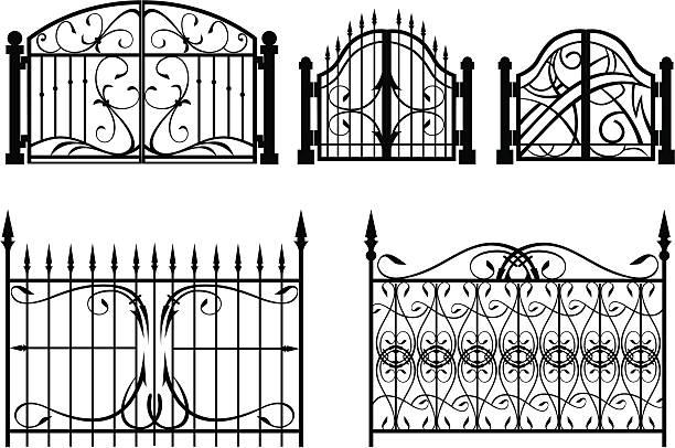 ilustrações de stock, clip art, desenhos animados e ícones de portão de ferro & vedação - portão