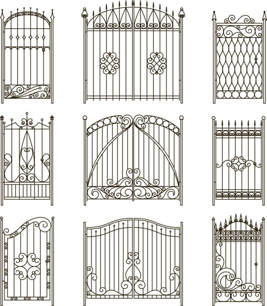 Iron gates with decorative elements. Vector monochrome pictures set Iron gates with decorative elements. Vector monochrome pictures set. Fence and gate wrought silhouette, elegance collection fence border illustration gate stock illustrations