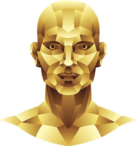 stockillustraties, clipart, cartoons en iconen met iron man head - kaal geschoren hoofd