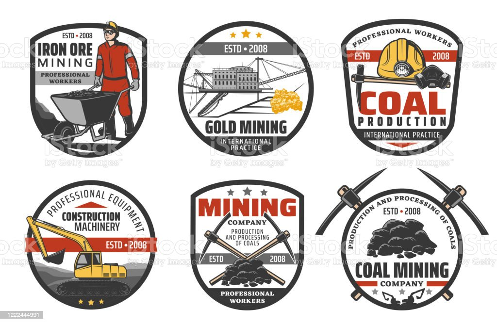 Iron Ore Mining Industry Coal Mine Machinery Icons Stock Illustration -  Download Image Now - iStock