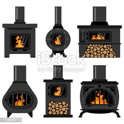 Wood burning stove with fire flame and log. Vector icon set.