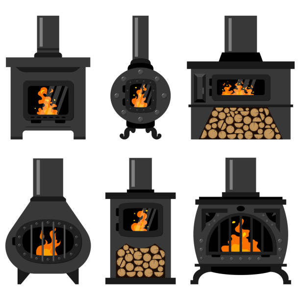 Iron wood burning stove with firewood and fire set. Vector flat old vintage fireplaces isolated on a white background. Wood burning stove with fire flame and log. Vector icon set. oven stock illustrations