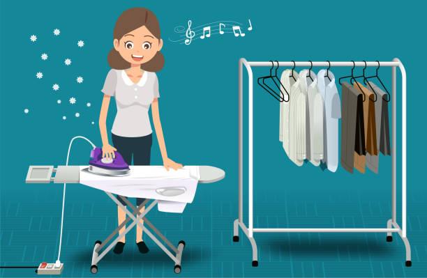 家庭用製品にアイロンをかけます。休日の活動。基本的な家事。きれいな布の香り - 楽しい 洗濯点のイラスト素材/クリップアート素材/マンガ素材/アイコン素材