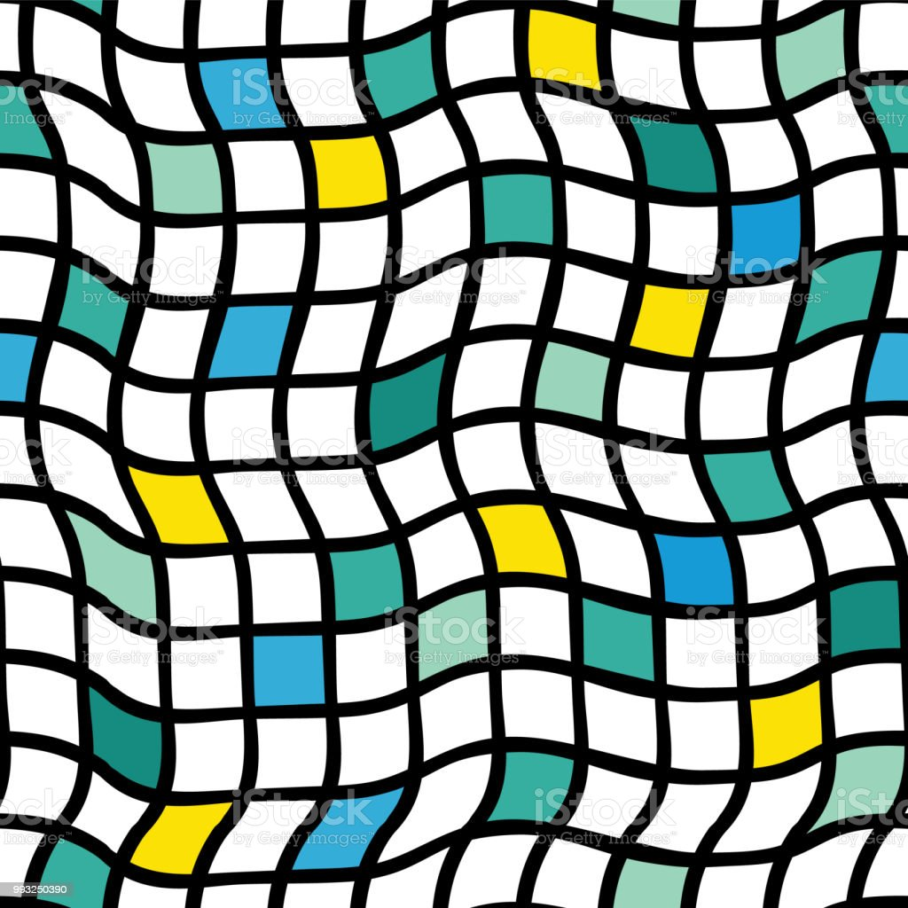 irregular handdrawn plaids vector seamless pattern black grid with Pixel Grid irregular handdrawn plaids vector seamless pattern black grid with yellow blue green