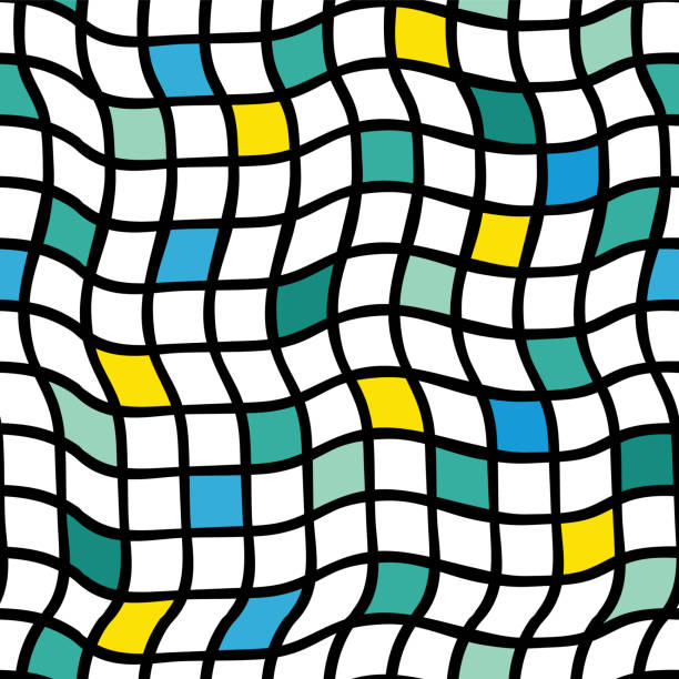 Irregular handdrawn plaids. Vector seamless pattern. Black grid with yellow, blue, green, and lime colored squares. Optical Illusion. vector art illustration