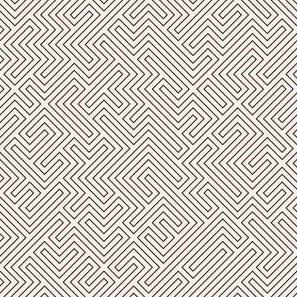 irregular maze lines. vector seamless black and white pattern. - labyrinthgarten stock-grafiken, -clipart, -cartoons und -symbole
