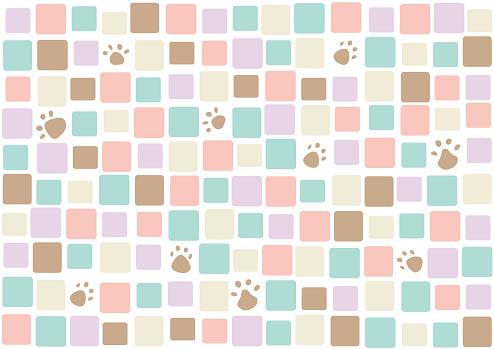 irregular square pattern and paw print background    mosaic tiles