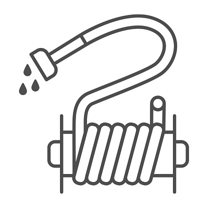 Irrigation hose thin line icon, Garden and gardening concept, Jets of water irrigation equipment sign on white background, water hose icon in outline style for mobile and web. Vector graphics