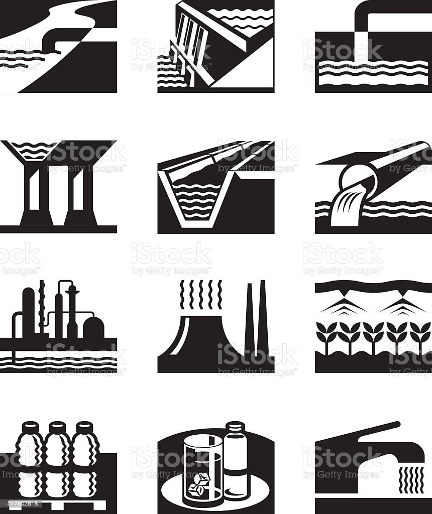 Irrigation, plumbing and water supply vector art illustration