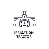 irrigation tractor line icon, outline sign, linear symbol, vector, flat illustration