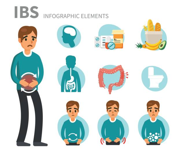 irritable bowel syndrome vector art illustration