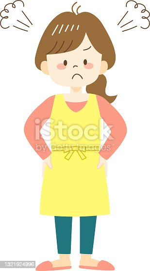 istock Irritated young woman in yellow apron 1321924996