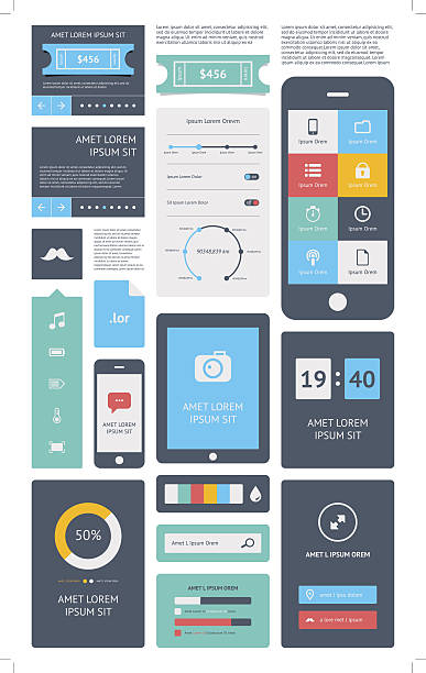 UI is a set components featuring the flat design UI is a set of beautiful components featuring the flat design trend flat physical description stock illustrations