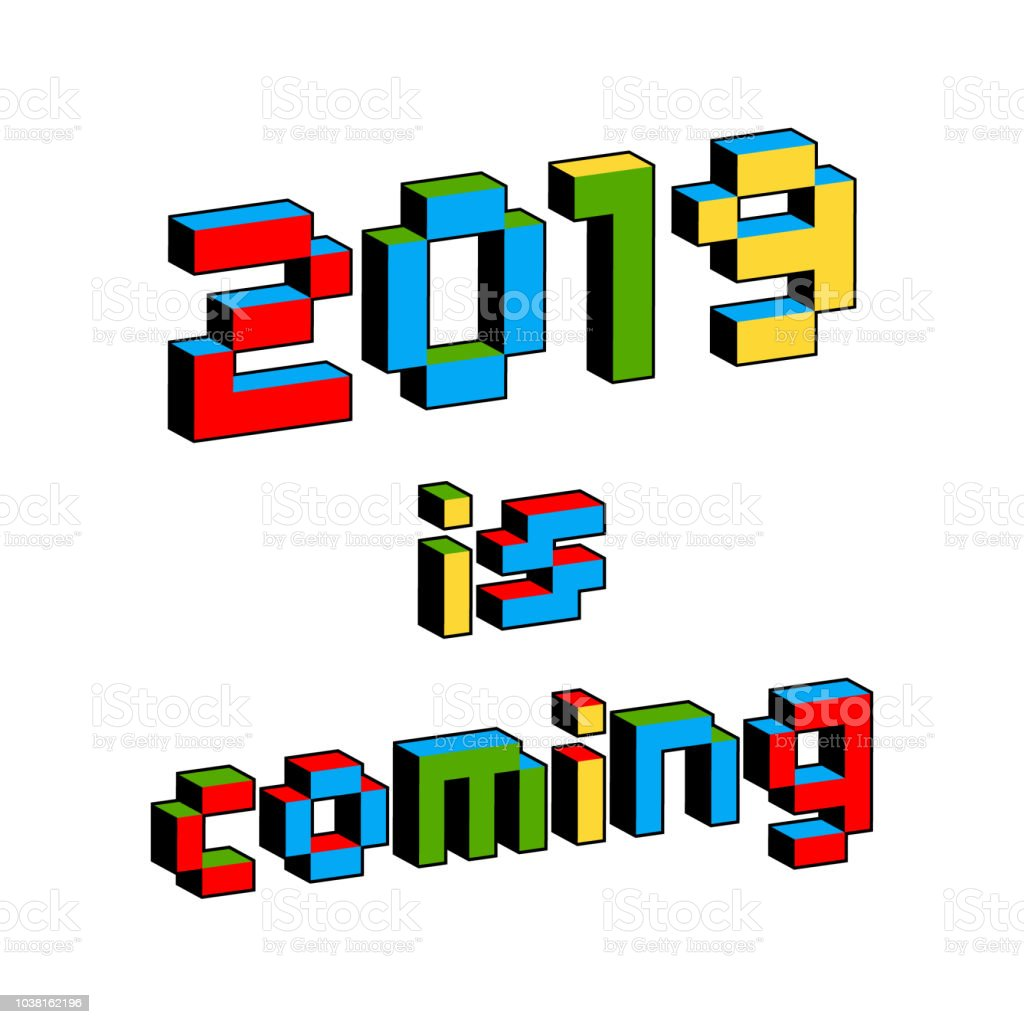 2019 は、古い 8 ビットのビデオゲームのスタイルで来るテキストです。活気に満ちたカラフルな 3 D のピクセルの文字。新年ポスター、お祝いのチラシ テンプレート。休日のベクトル。レト� ベクターアートイラスト