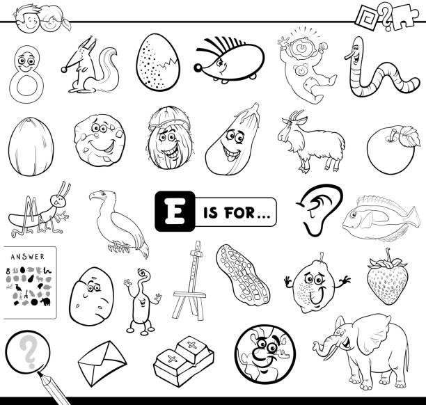 illustrations, cliparts, dessins animés et icônes de e est pour le livre de coloriage jeu éducatif - enseignant(e) en maternelle