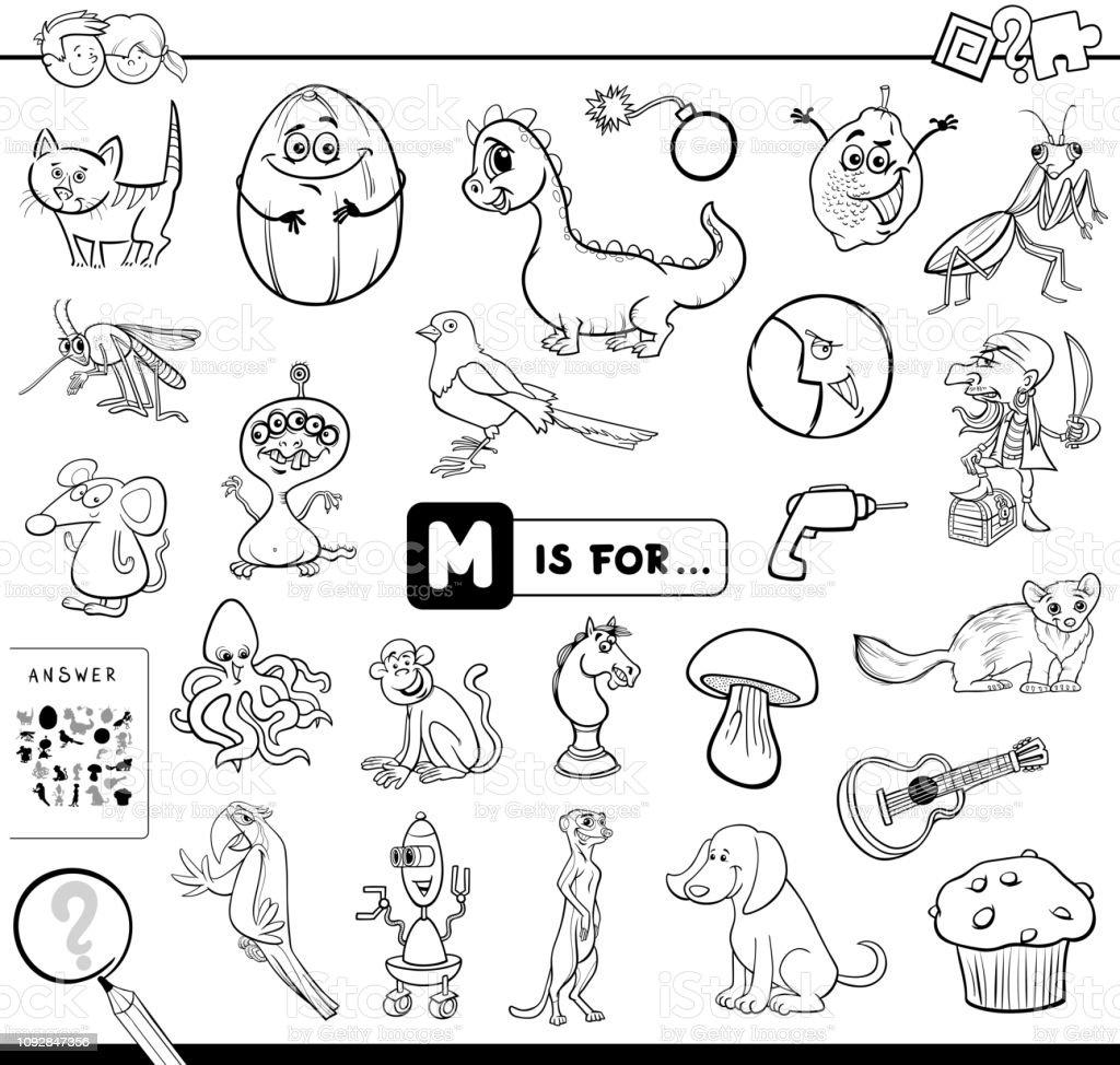 Ilustración De M Es Para Libros Educativos Para Colorear
