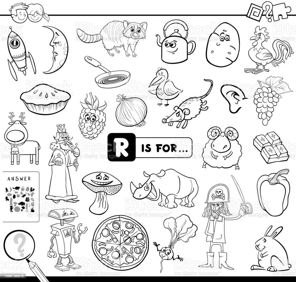 Ilustracion De R Es Para Libros Educativos Para Colorear Juego Y
