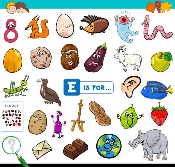 illustrations, cliparts, dessins animés et icônes de e est pour un jeu éducatif pour les enfants - enseignant(e) en maternelle