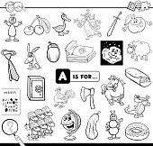 Black and White Cartoon Illustration of Finding Picture Starting with Letter A Educational Game Worksheet for Children Coloring Book