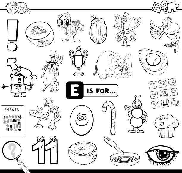 illustrations, cliparts, dessins animés et icônes de e est pour le livre de coloriage de tâche éducative - enseignant(e) en maternelle