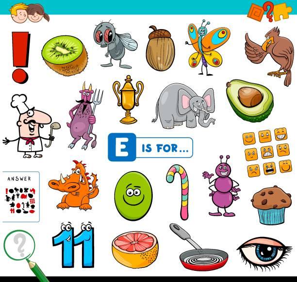illustrations, cliparts, dessins animés et icônes de e est pour la tâche éducative pour les enfants - enseignant(e) en maternelle