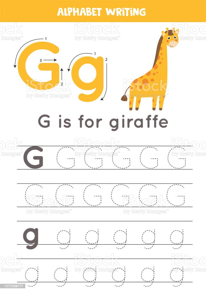 G Is For Giraffe Tracing English Alphabet Worksheet Stock Illustration -  Download Image Now - IStock