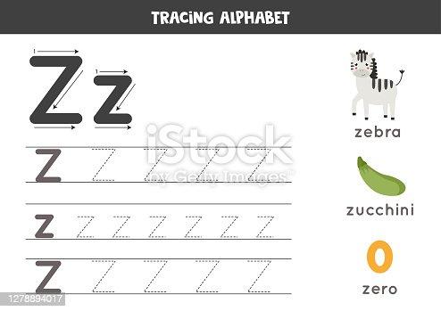 Z is for zebra, zero, zucchini. Tracing English alphabet worksheet.