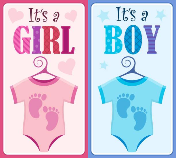 is it a girl or boy theme 9 - bodysuit stock-grafiken, -clipart, -cartoons und -symbole