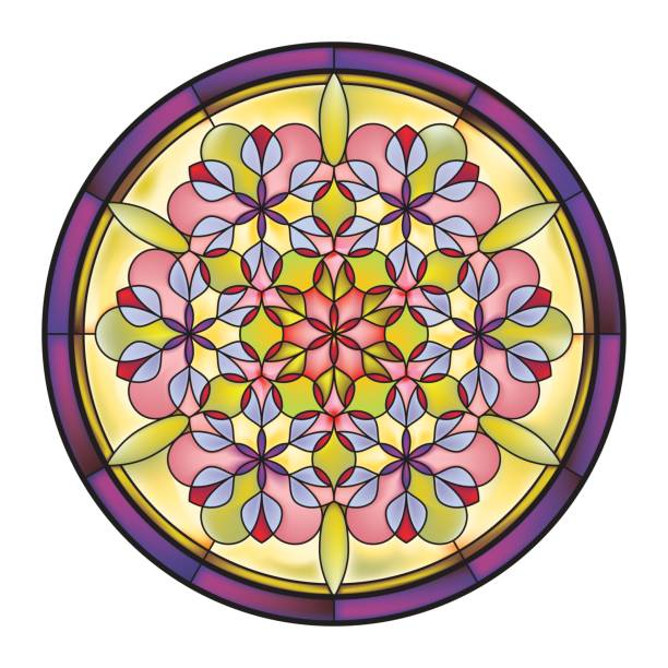 bildbanksillustrationer, clip art samt tecknat material och ikoner med is_abstract_mosaic_floral_stained_glass_window_round_panel - hui style