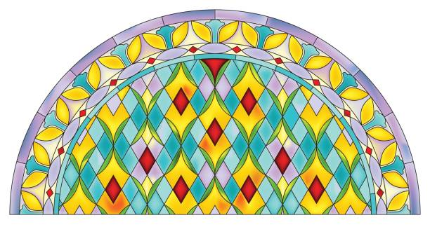 bildbanksillustrationer, clip art samt tecknat material och ikoner med is_abstract_mosaic_pattern_half_round_stained_glass_window_design - hui style