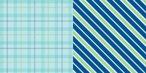 bildbanksillustrationer, clip art samt tecknat material och ikoner med is_plaid_stripes_pattern_set_green_aqua - hui style