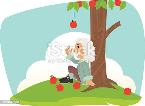 Cute Isaac Newton is sitting under an apple tree. Eps10