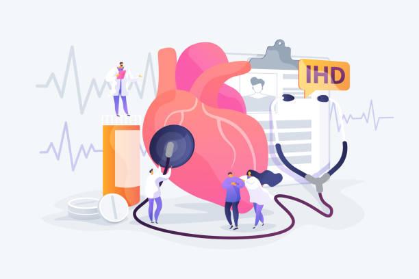 bildbanksillustrationer, clip art samt tecknat material och ikoner med ischemisk hjärtsjukdom koncept vektor illustration - kardiolog