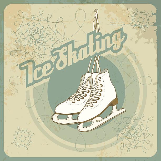 Ise skating retro card Ise skating card in retro style. Fully layered EPS 10. figure skating stock illustrations