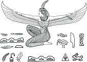 Isis Goddess of health, marriage, and love. Isis depicted with outstratched wings. Vector Illustration.Complete set of Egyptian hieroglyphs