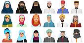 Islam cartoon people icons. Arabic muslim avatars muslim face heads of male and female.
