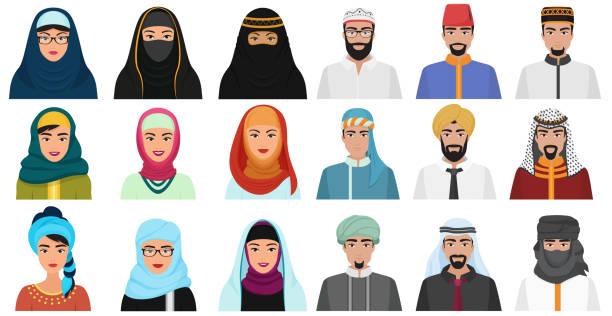 Islam cartoon people icons. Arabic muslim avatars muslim face heads of male and female. Islam cartoon people icons. Arabic muslim avatars muslim face heads of male and female headscarf stock illustrations
