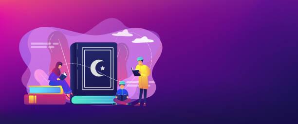 ilustrações de stock, clip art, desenhos animados e ícones de islam concept banner header. - cora��o
