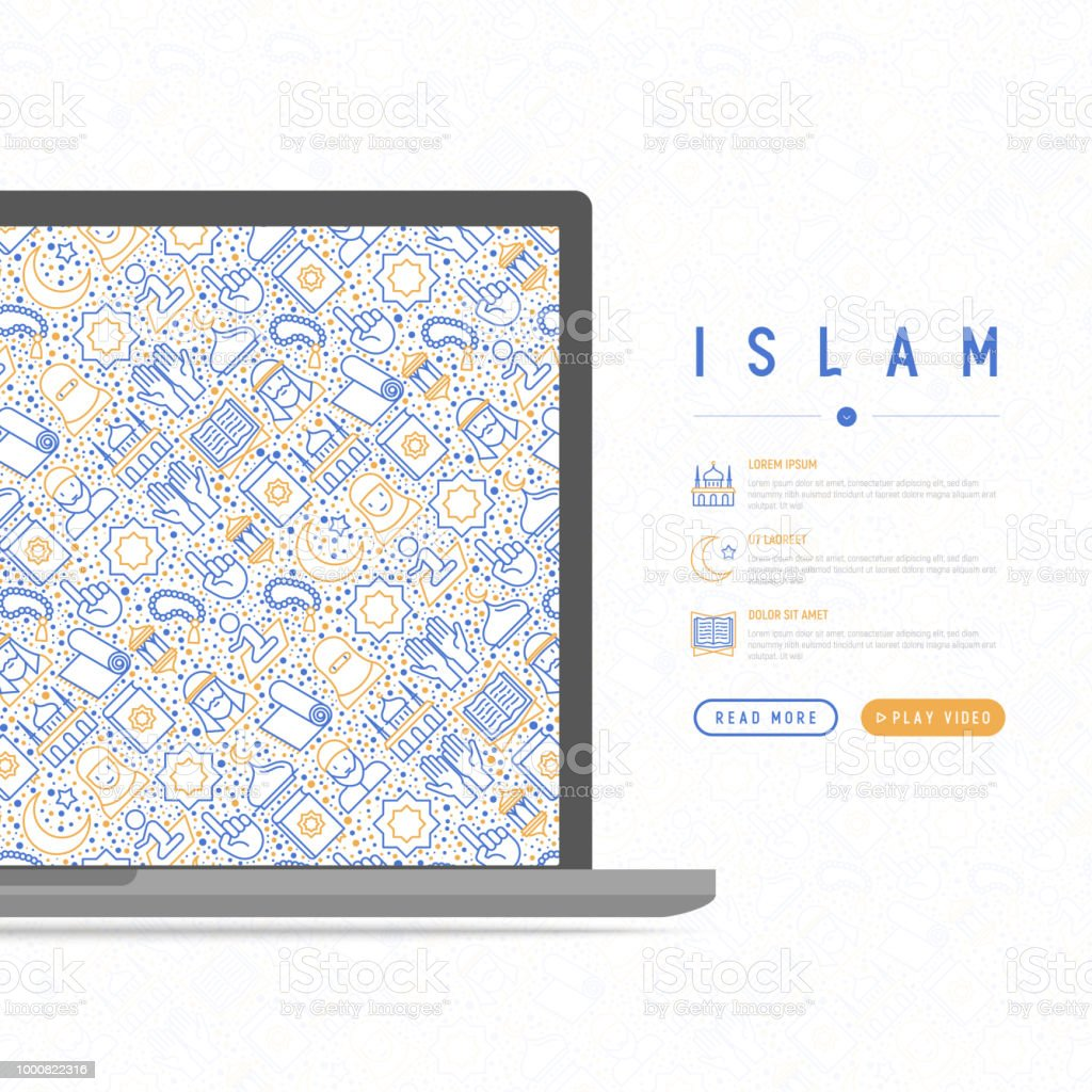 Islam concept with thin line icons: mosque, carpet, rosary, prayer, koran, moslem. Modern vector illustration, template for web page. vector art illustration