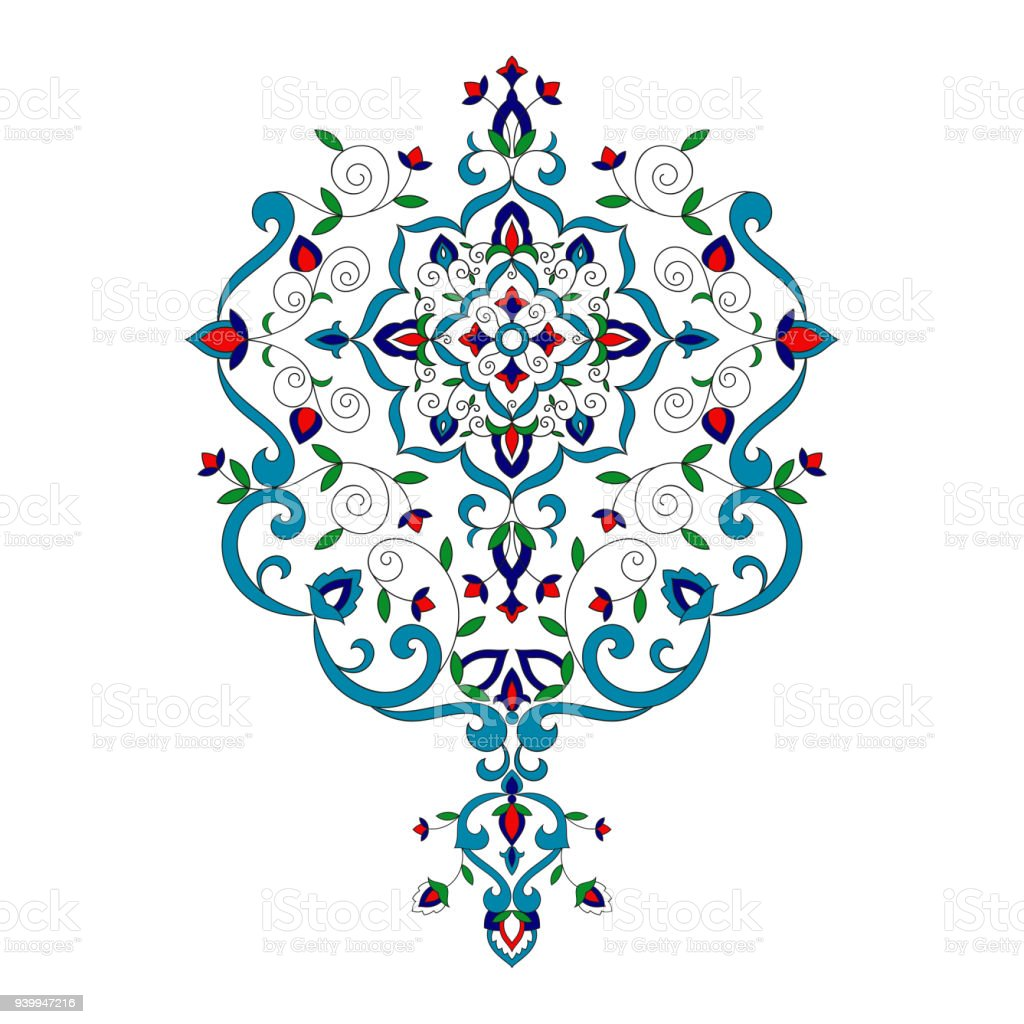 Islam Floral Pattern Vector Turkish Porcelain Ornament With Flowers ...