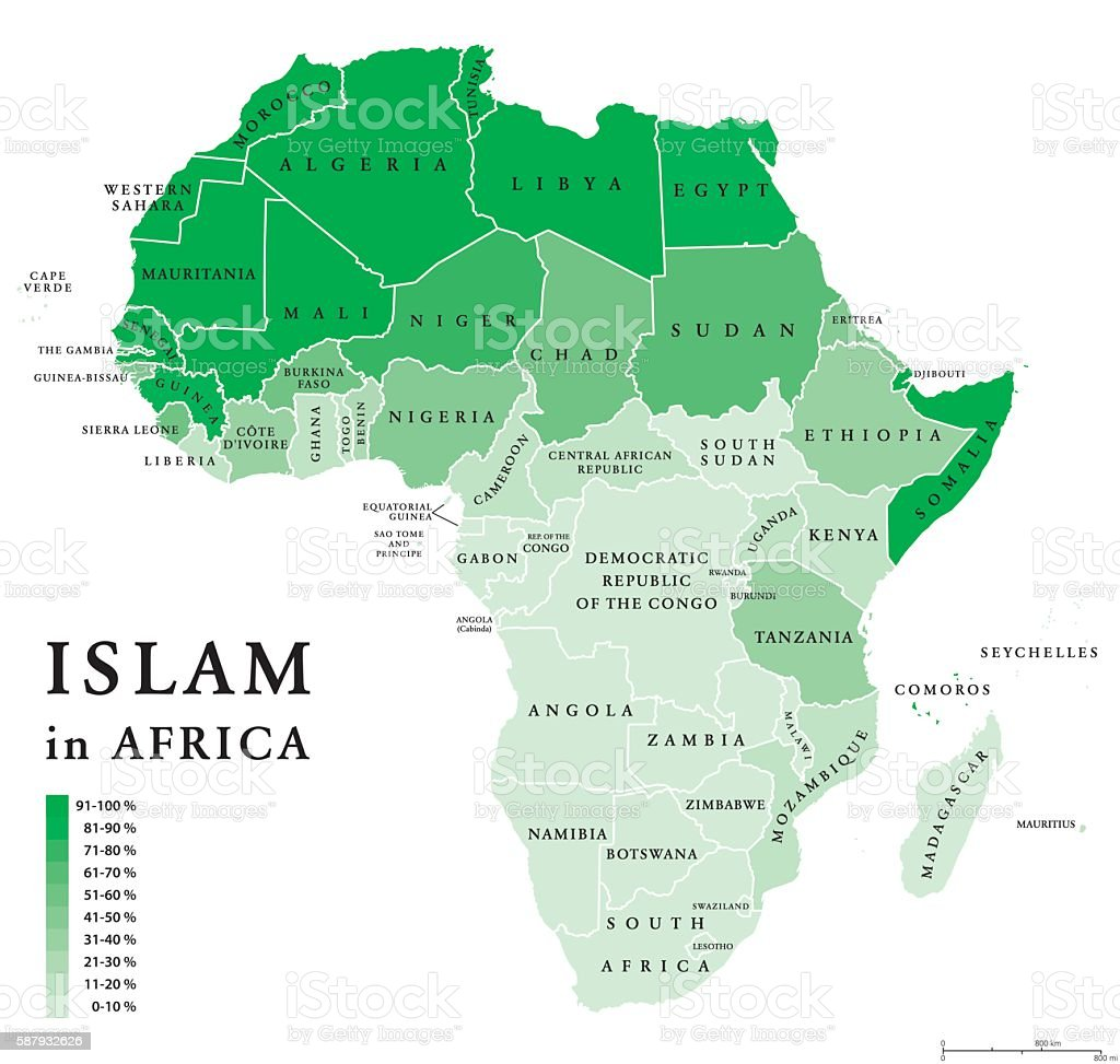Map Of Africa Political.Islam In Africa Political Map Stock Illustration Download Image