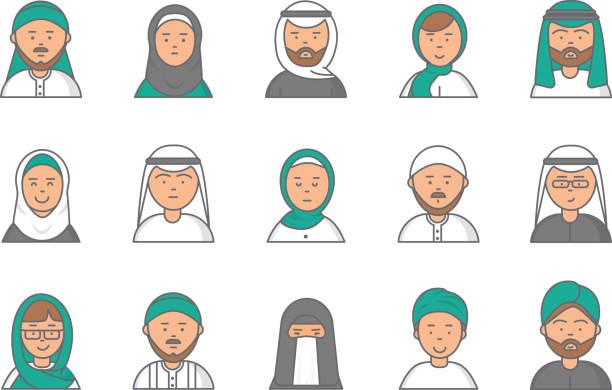 Avatares de lineal de Islam. Caras de vector Arabia Saudita musulmán árabe de la macho y hembra para el perfil de la web - ilustración de arte vectorial