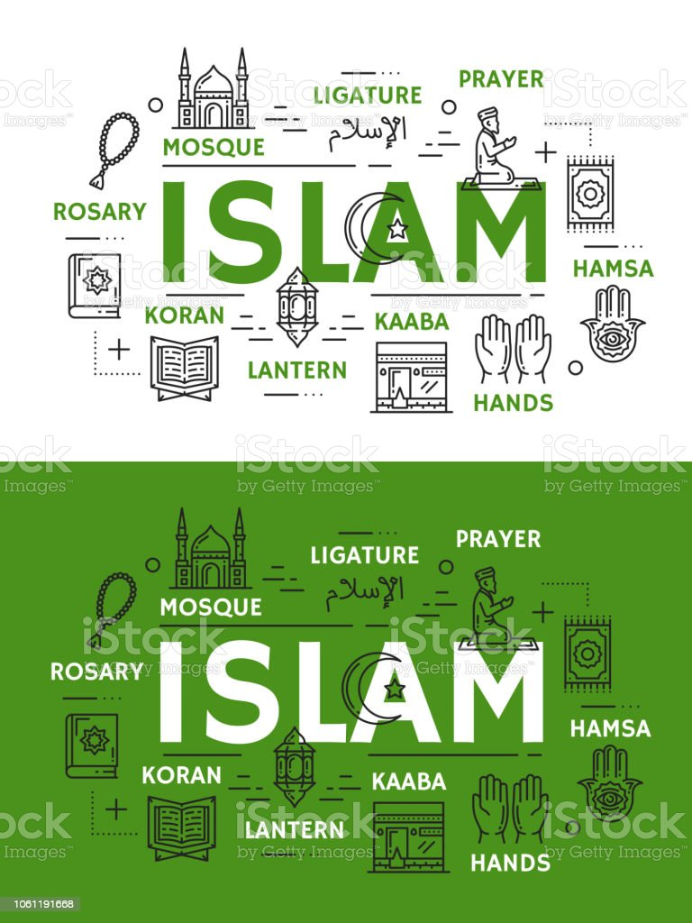 Islam religion icons and symbols vector art illustration